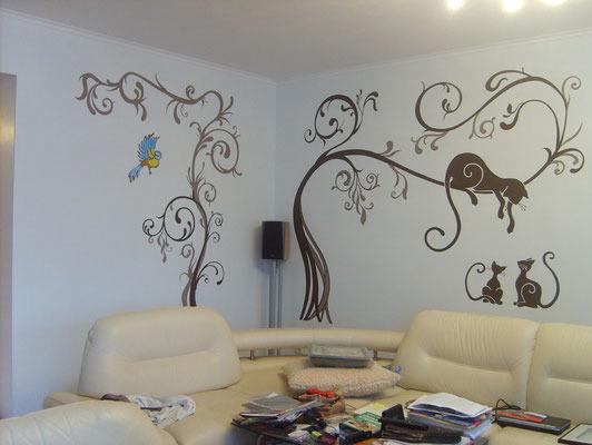 Роспись трафаретами на стенах